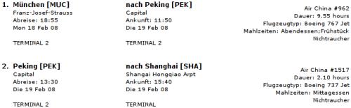 Itinerary Munich - Shanghai